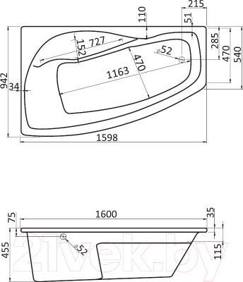 Ванна акриловая Santek Майорка XL 160x95 L Комфорт Плюс (1WH112406) - схема