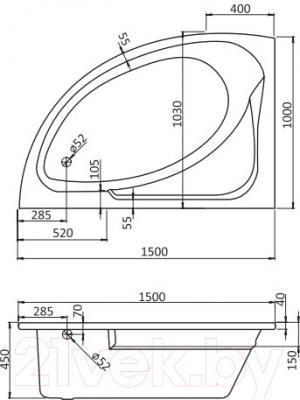 Ванна акриловая Santek Гоа 150x100 L Комфорт Плюс (1WH112408) - схема