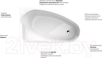 Ванна акриловая Kolo Mystery 150x95 L / XWA3751000 (с ножками) - преимущества