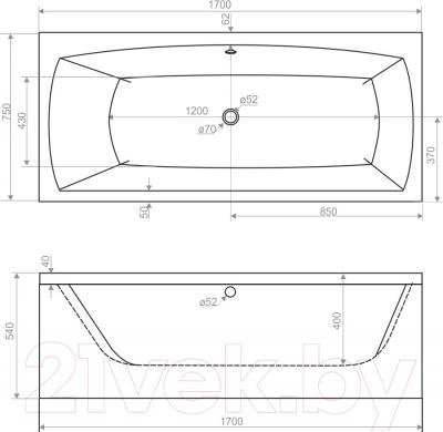 Ванна акриловая Domani-Spa Clarity 170x75 - схема