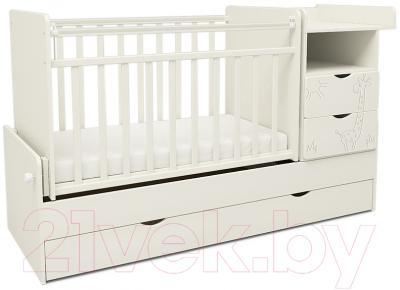 Детская кроватка СКВ 550031 (жираф, белый)