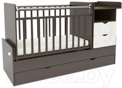 Детская кроватка СКВ 550038-1 (жираф, венге/белый)