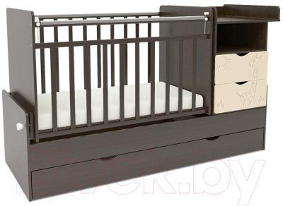 Детская кроватка СКВ 550038-9 (жираф, венге/бежевый)