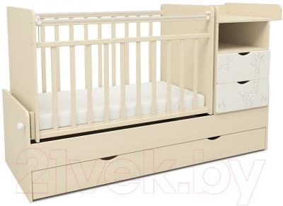 Детская кроватка СКВ 550039-1 (жираф, бежевый/белый)