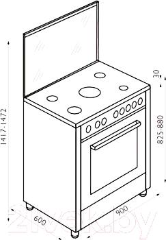 Плита газовая Zigmund & Shtain VGG 37.93 A