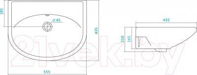 Умывальник настенный Santek Цезарь 60 (1WH110523) - схема