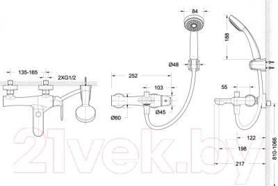 Смеситель Bravat Flow F671105C-B - схема