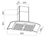 Вытяжка купольная Aisen 198KZ (900 LCD, сенсорное управление) - схема