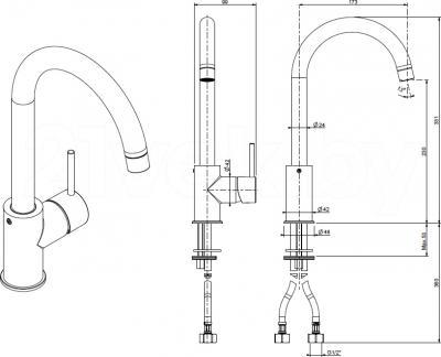Смеситель Florentina Alfa (33.01H.1110) Jasmine - схема