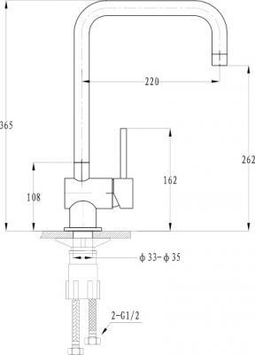 Смеситель Florentina Delta (33.03H.1110) Jasmine - схема