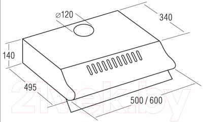 Вытяжка плоская Exiteq Standard 501 (нержавеющая сталь)