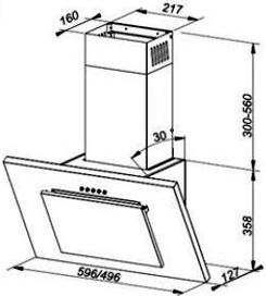 Вытяжка декоративная MAAN Vertical G 60 Inox - схема