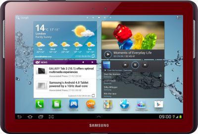 Планшет Samsung Galaxy Tab 2 10.1 16GB 3G Red (GT-P5100) - фронтальный вид