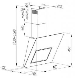 Вытяжка декоративная Ciarko Black Pearl 60 Luxe (нержавеющая сталь) - схема
