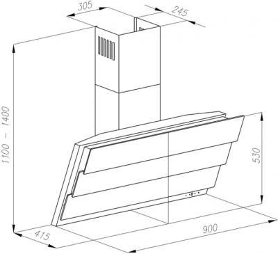 Вытяжка декоративная Ciarko SB 90 Сitro X - схема