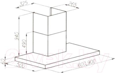 Вытяжка Т-образная Ciarko Quatro Slim (90, черный)