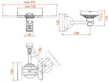 Кронштейн под аппаратуру Electric Light КБ-01-18 Black - габаритные размеры