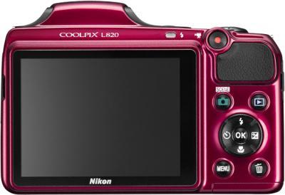 Компактный фотоаппарат Nikon Coolpix L820 Red - вид сзади