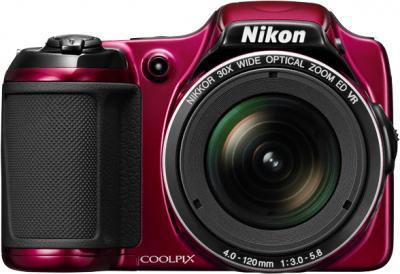 Компактный фотоаппарат Nikon Coolpix L820 Red - вид спереди