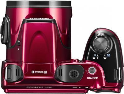 Компактный фотоаппарат Nikon Coolpix L820 Red - вид сверху