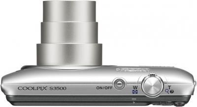Компактный фотоаппарат Nikon Coolpix S3500 Silver - вид сверху