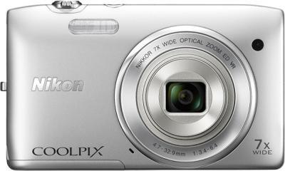 Компактный фотоаппарат Nikon Coolpix S3500 Silver - вид спереди