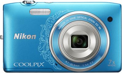Компактный фотоаппарат Nikon Coolpix S3500 Blue Patterned - вид спереди