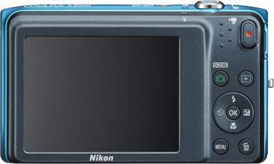 Компактный фотоаппарат Nikon Coolpix S3500 Blue Patterned - вид сзади