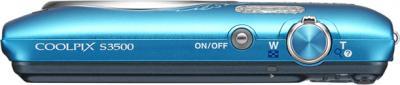 Компактный фотоаппарат Nikon Coolpix S3500 Blue Patterned - вид сверху