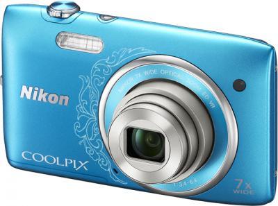 Компактный фотоаппарат Nikon Coolpix S3500 Blue Patterned - общий вид