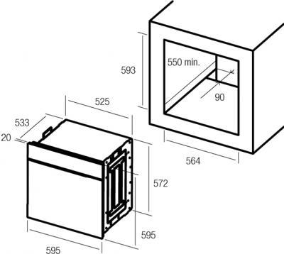 Электрический духовой шкаф Nodor Decor 800 - схема встраивания