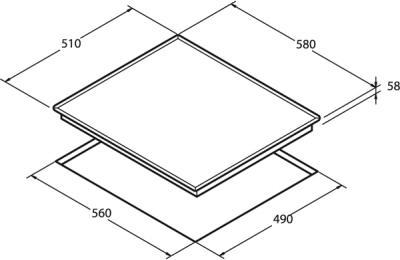 Электрическая варочная панель Nodor RS 46 B Inox - схема встраивания