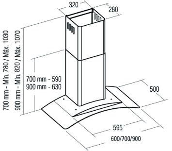 Вытяжка купольная Cata GAMMA VL3 700 GLASS - схема