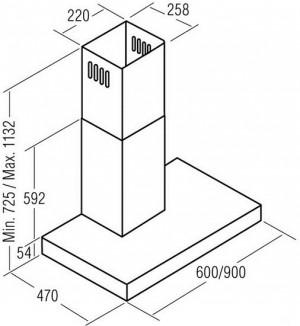 Вытяжка Т-образная Cata Midas (60, белое стекло) - схема