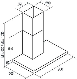 Вытяжка Т-образная Cata Selene 900 - схема