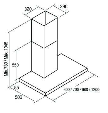 Вытяжка Т-образная Cata Sygma 600 VL3 (нержавеющая сталь) - схема