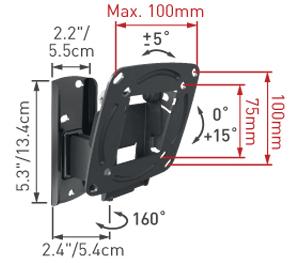 Кронштейн для телевизора Barkan E120.B - габаритные размеры