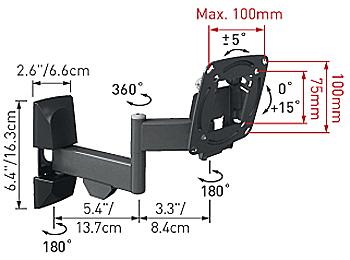 Кронштейн для телевизора Barkan E140.B - габаритные размеры
