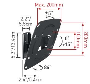Кронштейн для телевизора Barkan E220.B - габаритные размеры