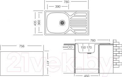 Мойка кухонная Ukinox CMM 780.435 GT 6K (правая)