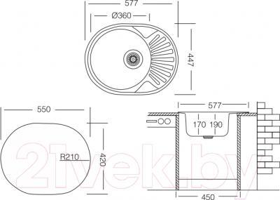 Мойка кухонная Ukinox FAM 577.447 GT 6K (левая)