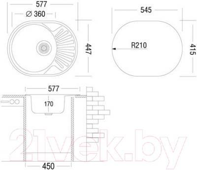 Мойка кухонная Ukinox FAD577.447 5K 1R