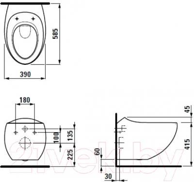 Унитаз подвесной Laufen Alessi One (8209764000001) - схема