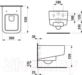 Унитаз подвесной Laufen Pro S (8209610000001) - схема