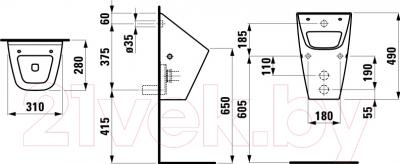 Писсуар Laufen Vila (8411410000001) - схема