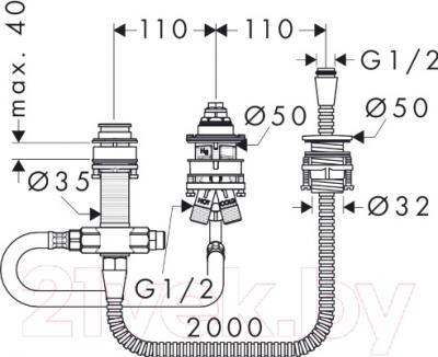Встроенный механизм смесителя Hansgrohe 13439180 - схема