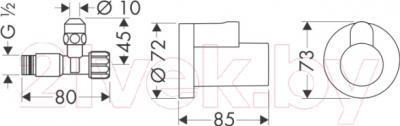 Вентиль угловой Hansgrohe 13954000 - схема