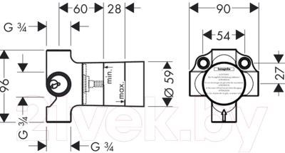 Вентиль угловой Hansgrohe Quattro 15930180
