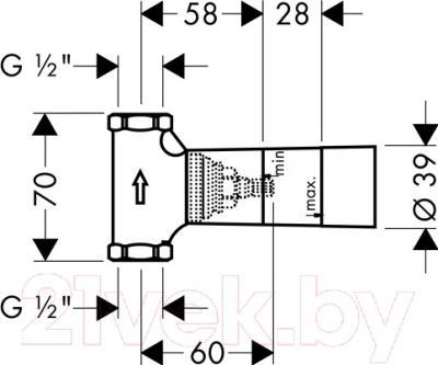 Вентиль угловой Hansgrohe 15974180 - схема