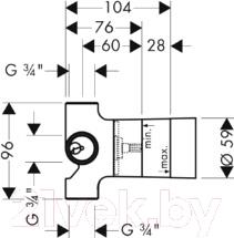 Вентиль угловой Hansgrohe Trio Stop 15981180 - схема
